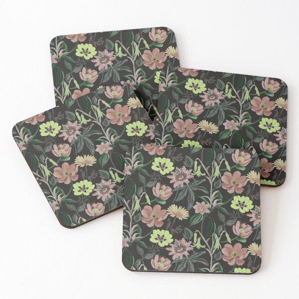 Black Floral Seamless Pattern Coasters (Set of 4)