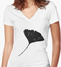 Ginkgo biloba, Lino cut nature inspired leaf pattern Women's Fitted V-Neck T-Shirt
