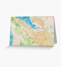 Watercolor map of Silicon Valley Greeting Card