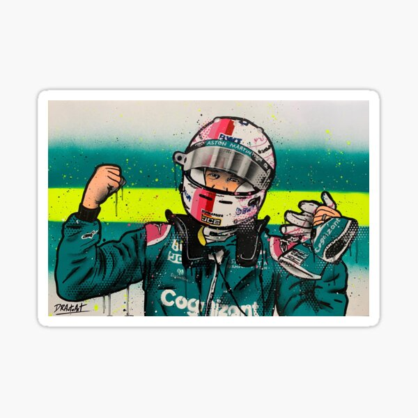 Sebastian Vettel, Astoon Martin - Graffiti-Malerei von DRAutoArt Sticker