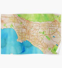 Watercolor map of Los Angeles Poster
