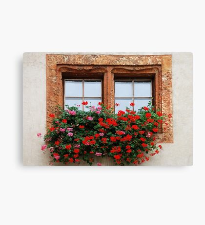 Window with flowers in Naters - Switzerland Canvas Print