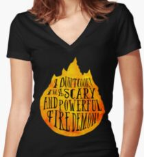 Fire Demon  Women's Fitted V-Neck T-Shirt