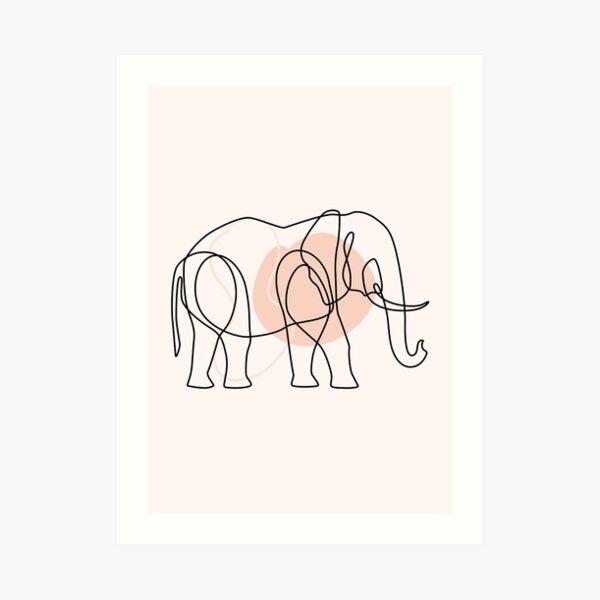 elephant one line BOHO ART Art Print