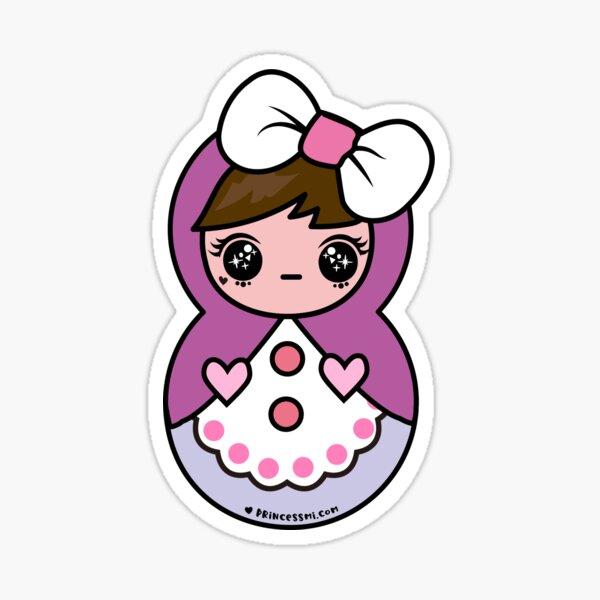 russian matryoshka , cute kawaii doll art Sticker