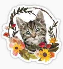 Flower Wreath Kitten Sticker