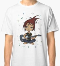 Guitar Chick (version 1, with music notes) Classic T-Shirt