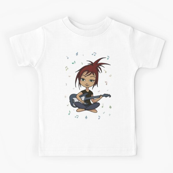 Guitar Chick (version 1, with music notes) Kids T-Shirt