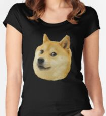 shibe doge face Women's Fitted Scoop T-Shirt