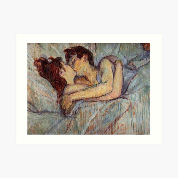 In Bed The Kiss by Henri de Toulouse-Lautrec Art Print