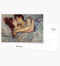 Im Bett der Kuss von Henri de Toulouse-Lautrec Postkarten