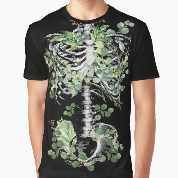Botanical anatomy, rib cage, pelvis, eucalyptus leaves floral skeleton Graphic T-Shirt