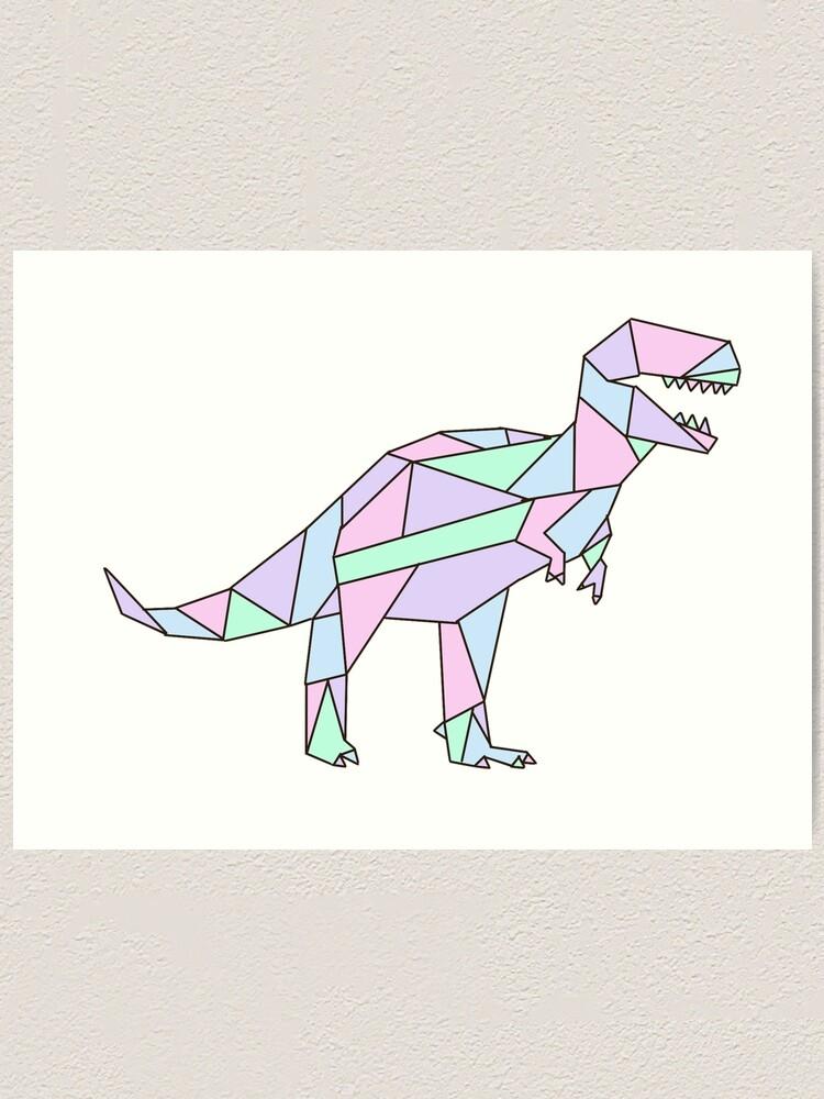 Lamina Artistica Pastel Geometrico Dino De Kellymoz Redbubble Superorden de vertebrados saurópsidos que dominaron la era mesozoica. redbubble
