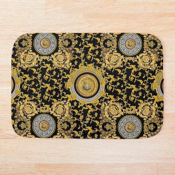Black BAROQUE Decorative Gold Bath Mat