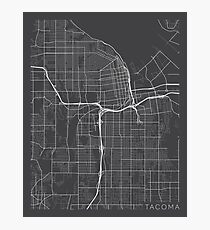 Tacoma Map, USA - Gray Photographic Print