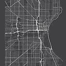 Milwaukee Karte, USA - Grau von MainStreetMaps
