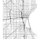 Milwaukee Karte, USA - schwarz und weiß von MainStreetMaps