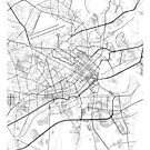 Ho-Chi-Minh-Stadt Karte, Vietnam - schwarz und weiß von MainStreetMaps