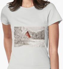 Red Shed In The Snow T-Shirt