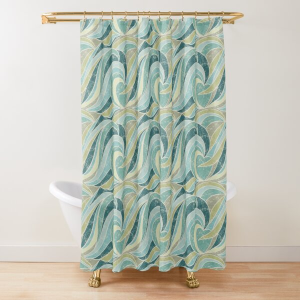 Abstract Waves Shower Curtain