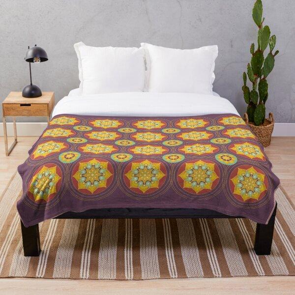 Gold Mandala Pattern Throw Blanket