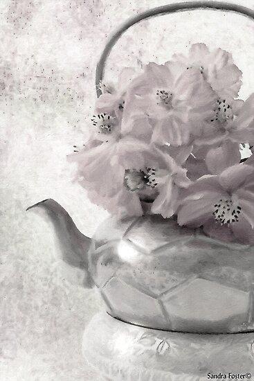 Zinnias In Tea Pot - Digital Oil Painting by Sandra Foster