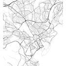 Cardiff Karte, Wales - Schwarz und Weiß von MainStreetMaps