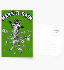 Dollar bills kitten - make it rain money cat Postcards