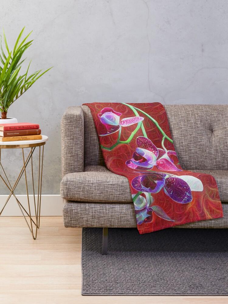 Alternate view of Phalaenopsis B Throw Blanket