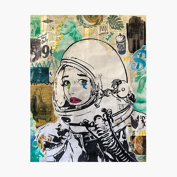 Book pages collage | Astronaut | Street-art Photographic Print