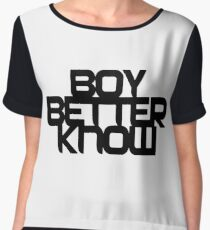 Boy Better Know - Chest Placement (black) Chiffon Top