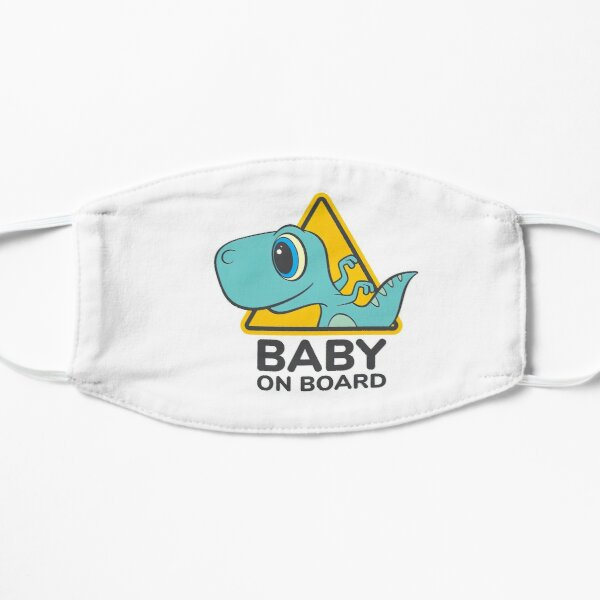 Baby On Board, Baby Dino On Board, Baby in Car Flat Mask
