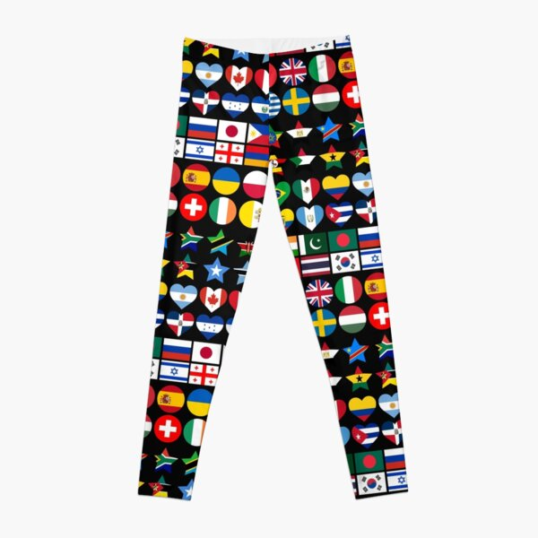 Flags of Countries of the Worlds in Geometric Shapes Leggings