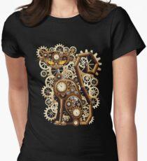 Stylische surreale Steampunk Katze Women's Fitted T-Shirt