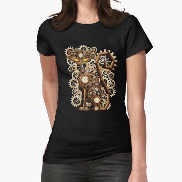 Stylische surreale Steampunk Katze Fitted T-Shirt