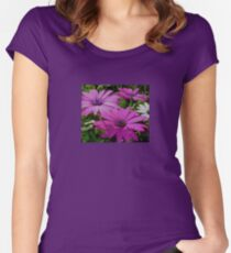Purple And Pink Tropical Daisy Flower Women's Fitted Scoop T-Shirt