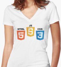 Web Logos Women's Fitted V-Neck T-Shirt