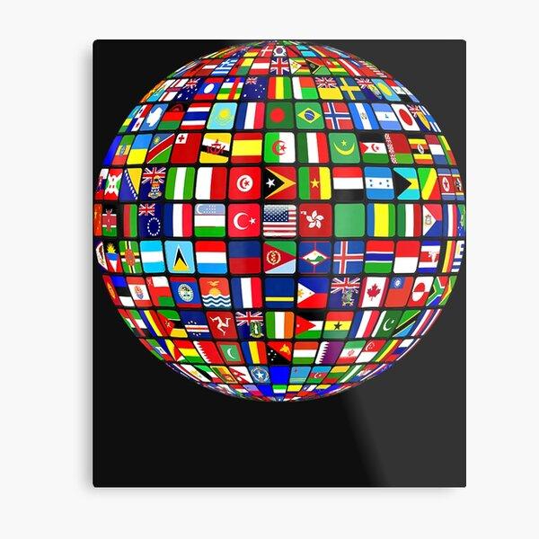 World Map of Flags Globe Atlas Tshirt Flags of the World Metal Print