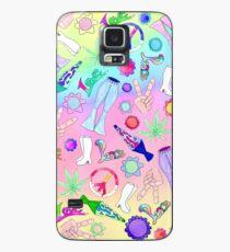 Psychedelische 70er Jahre Groovy Collage Muster Hülle & Klebefolie für Samsung Galaxy