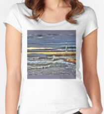 High tide at Seaburn Sunderland Women's Fitted Scoop T-Shirt