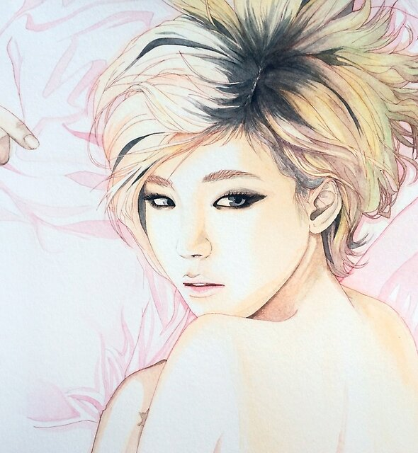 Son Ga In Brown Eyed Girls Watercolor Print by antuyetlai