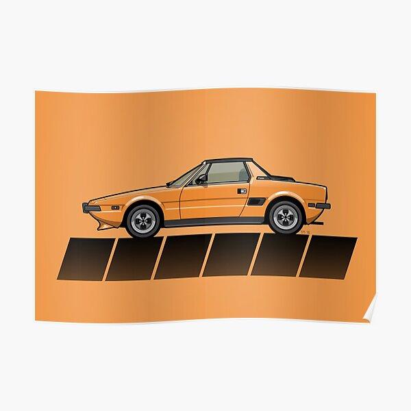Fiat Bertone X1/9 Orange Stripes Poster