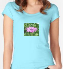 Purple Osteospermum Against Green Leaves Women's Fitted Scoop T-Shirt