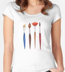 set brushes_color pencil Women's Fitted Scoop T-Shirt