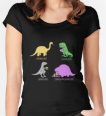 Funny Dinosaurs Women's Fitted Scoop T-Shirt