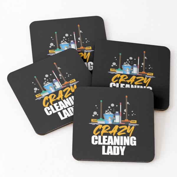 Cleaning Lady Housekeeper Maid Housemaker Domestic Worker Coasters (Set of 4)