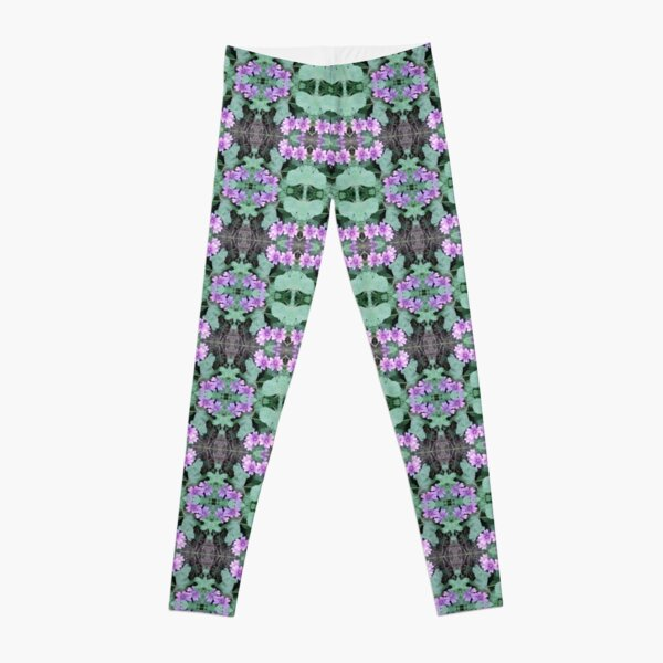 Mauve Ground Flower Fractal 1 Leggings