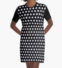 White Smiley Dots Graphic T-Shirt Dress