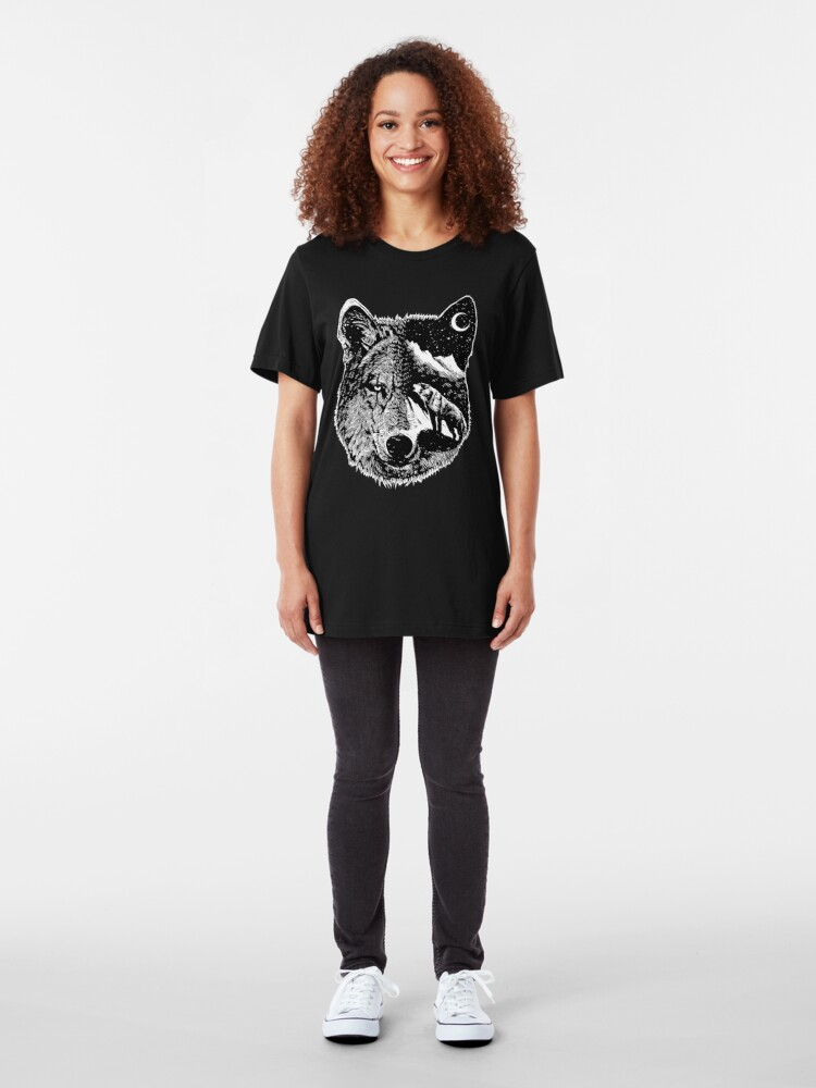 Alternate view of Night wolf Slim Fit T-Shirt