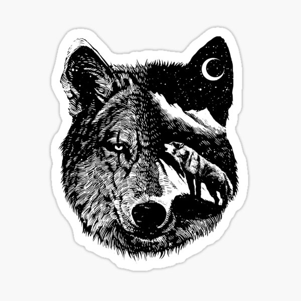 Night wolf - Animal Theme Design Suitable for Men and Women Sticker